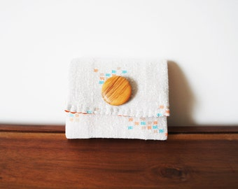 CLEARANCE--White Graphic Print Business Card Holder with Wooden Button