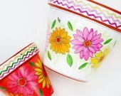"""Hand Painted Pot 6 Inch """"Fiesta"""" - Made to Order"""