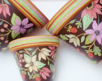 "Planter Hand Painted Flower Pot 6 Inch Terracotta ""Chocolate Floral""-  Made to Order"