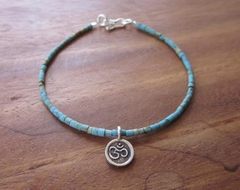 Turquoise bracelet Silver beads Charm Mantra Om  /  7 inches long ready to send  / silver 925