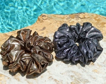 Metallic Scrunchies in Gold and Silver