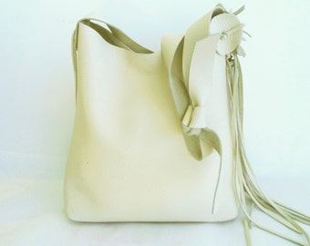 cream leather handbag, shoulder purse, with flower rose and fringe, by Tuscada. Ready to ship.