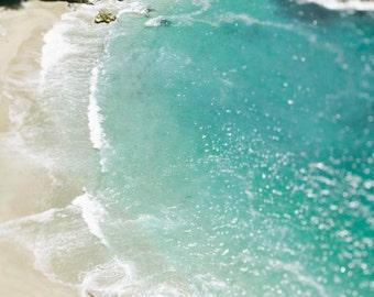 "Aqua Blue Ocean Photograph, Coastal Wall Art, Water, Sea, Seascape, Aerial Photograph, Bokeh, Water Photograph ""Bokeh Waters"""