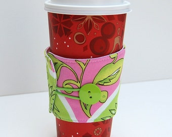 Floral Coffee Sleeve, Eco-Friendly Coffee Cozy, Coffee Cup Wrap, Reusable Coffee Cup Sleeve