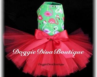 Dog Dress, Dog Tutu Dress, Winter Flamingos, XXS, XS or Small