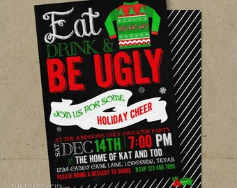 Ugly Sweater Christmas Party Chalkboard Invitations DIY