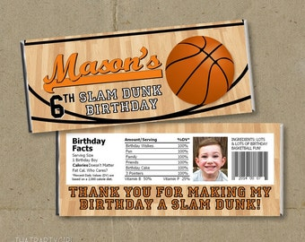 Basketball Birthday Party Candy Bar Wrappers Favors - Printable DIY