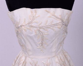 60's Bridal Wedding Prom Ivory Beaded and Embroidered Strapless Party Dress