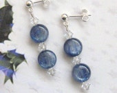Blue Kyanite Dangle Drop Pendant Earrings Sterling Silver Handmade Denim Blue Kyanite Crystal Blue Gemstone Boho Chic Kyanite Blue Jewelry