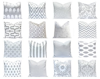 Gray Pillows, Throw Pillows, Gray Pillow Covers 20 x 20 Inches - Decorative Throw Pillow Covers Storm Gray and White Grey Pillows