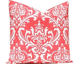 Coral Pillow Covers - Coral and White Damask - Coral Cushion Cover - One 20 x 20 Pillow Cover - Coral Bedding - Coral Home Decor