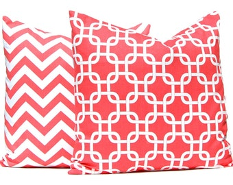 Coral Pillow Covers -  Decorative Throw Pillow Covers - Beach Decor - 20 x 20 Inches - Sofa Pillows - Chevron Pillow Cover - Coral Chevron