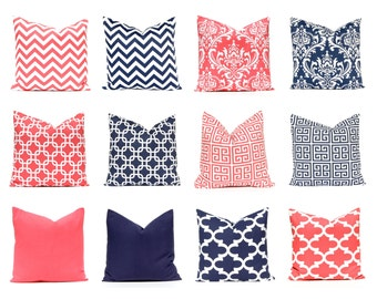 Coral Pillow Covers - Decorative Pillow Covers, Navy Blue Pillow Covers, Coral Nursery, Coral Pillows, Navy Pillow Covers