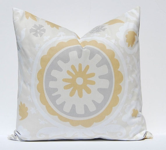 Decorative Pillow Covers, Tan Pillow Cover, Throw Pillow Covers, Accent Pillows One Suzani Pillow Cover Sofa Neutral