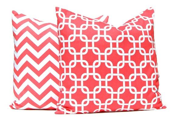 Coral Pillow Covers -  Decorative Throw Pillow Covers - Beach Decor - 20 x 20 Inches - Sofa Pillows - Chevron Pillow Cover - Coral Chevron