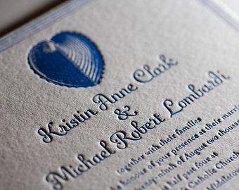 Classic Beach Wedding Custom Letterpress Invitation Suite