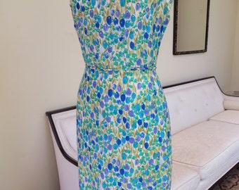 Vintage 1950's-60's/Floral Wiggle Dress Large/Floral Watercolor Print Silk Dress/Floral Silk Wiggle Dress/Blue and Green Floral Dress/Large