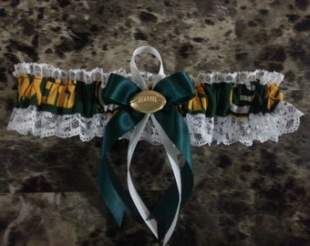 Green Bay Packers white lace Wedding Garter any size color or style.