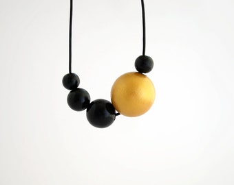 Black gold asymmetric necklace, long wooden necklace, eco friendly jewelry, wood necklace, minimal jewelry