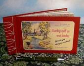 Sunday School Guest Book Album w/Vintage Church Worship Postcard Cover