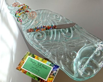 Dragonfly Textured Melted Wine Bottle Tray with Spreader