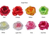 Angel Rose Flower Hair Clip Bridal Wedding 4.75 Inches. Choose color