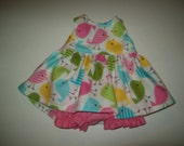 "Baby Alive  And Waldorf Doll Clothes Pink,Green, Aqua Birds  Dress 10"" 12"" Or 15"""