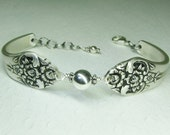Spoon Bracelet, Sterling Silver Beads, Plantation 1948, Silverware Jewelry