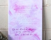 Burial Prayer Poem on Canvas, original calligraphy canvas, words on canvas, poetry, word art, pink and purple, bereavement, funeral eulogy