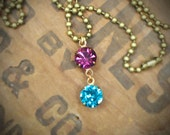 Vintage Rhinestone Birthstone Necklace, Brass, Drop Style, Two Stone, by rewelliott on Etsy