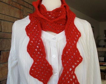 Crocheted Scarf, Red, Extra Long 86 inches, 100% Acrylic