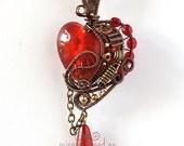 OOAK Red steampunk heart pendant