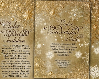 Gold Snowflake Invitation, Winter Wonderland Party Invitation, Snowflake Holiday Invitation, Christmas Party Invitation