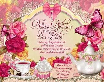 tea party invite  etsy, Party invitations