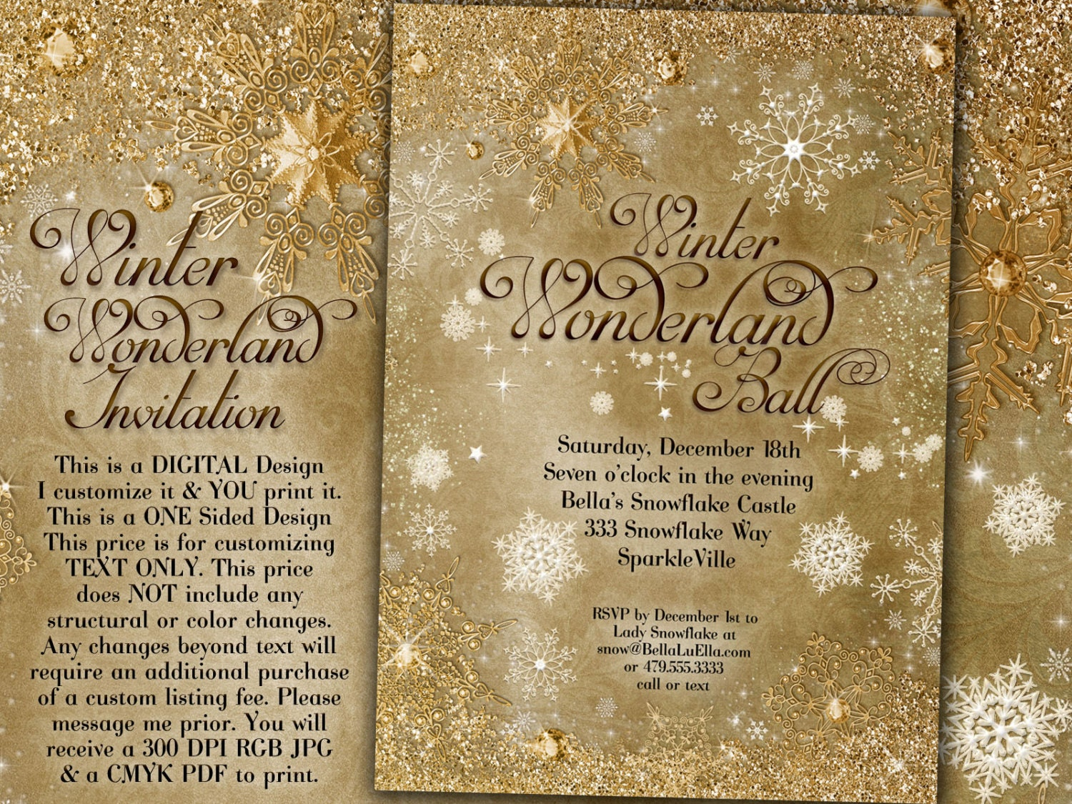 gold snowflake invitation winter wonderland party invitation, party invitations