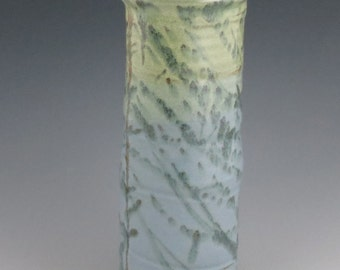 Tall Pottery Vase / Blue and Green Vase / Handmade Ceramic Vase 10 inches