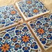 Moroccan Blues - Natural Stone Tile Drink Coasters - Set of 4