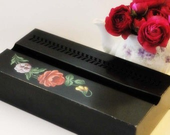 Hand painted floral tissue tin
