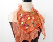 Orange Collar Terracotta Collar Felted Collar Felted Necklace