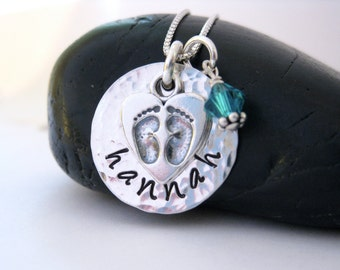 Mothers Necklace, Sterling Silver, Baby Feet Charm, Heart Charm, Name Necklace, Birthstone Jewelry, Hand Stamped Jewelry, Mom Jewelry
