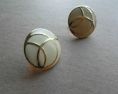 Monet Vintage 80s Earrings Ivory Enamel Clip On 80s Jewelry SALE