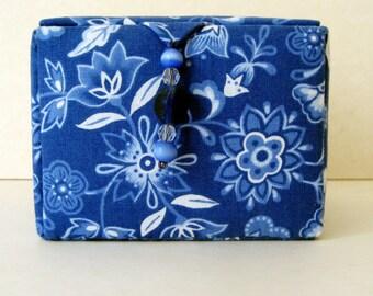 Blue floral keepsakes box, decorative storage box or jewelry box