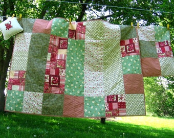 COTTAGE QUILTED THROW - Six O'Clock - quilt - plaid - red - green - pink - ivory - unique