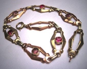 Rare Antique Ruby Bracelet Art Deco Green Rose Gold Vintage 1930s