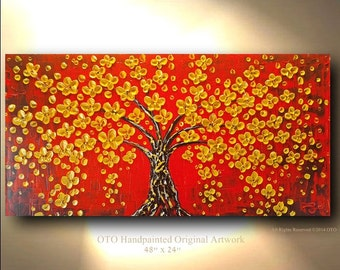 ORIGINAL Floral Red Tree Painting Gold Flower Impasto Landscape Artwork Treescape Textured  Modern Contemporary art Made to Order by OTO