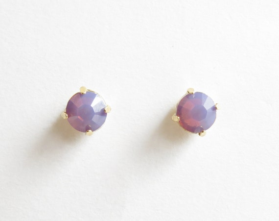 Purple Opal Studs | Purple Stud Earring | Purple Earrings | Bridesmaids Stud Earrings