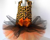 Small Candy Corn Halloween Dog Dress With Tutu Skirt