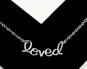 Loved - Sterling Silver Loved Necklace - Celebrity Style Necklace, Word Necklace, Handmade, Sideways Necklace Jewelry