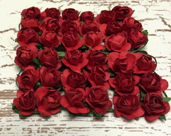 Paper Flowers - 36 Tiny RED Paper Roses for Scrapbooking, Favors, Wedding Invitations, Paper Crafting