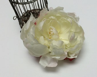 Silk Flowers - One Artificial Peony in CREAM FUCHSIA - 4 Inches - Artificial Flowers